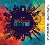 europe skyline silhouette.... | Shutterstock .eps vector #260890343