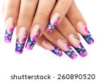 Female Hand With Floral Art...