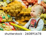 cute happy baby is smiling in...
