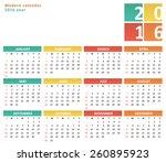flat calendar for 2016 year    Shutterstock .eps vector #260895923