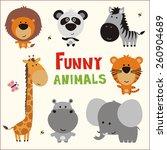 Stock vector set of funny animals in cartoon style lion panda zebra giraffe hippo tiger and elephant 260904689
