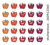 set of red apple emoticons | Shutterstock .eps vector #260912360