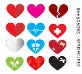 set of vector heart symbol   Shutterstock .eps vector #260929448