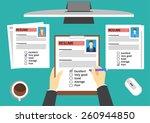 hr manager evaluating... | Shutterstock .eps vector #260944850