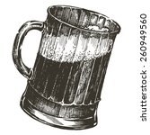 mug of beer on a white... | Shutterstock . vector #260949560