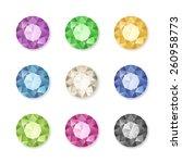 vector set of colored gem... | Shutterstock .eps vector #260958773