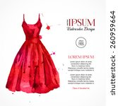 watercolor red dress. vector... | Shutterstock .eps vector #260959664