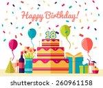 flat happy birthday festive... | Shutterstock .eps vector #260961158