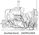 wire frame industrial equipment ... | Shutterstock .eps vector #260961404