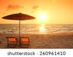 beach chair on the beach with... | Shutterstock . vector #260961410