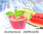 fresh watermelon and cucumber... | Shutterstock . vector #260961650