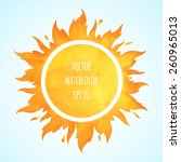 watercolor vector sun with... | Shutterstock .eps vector #260965013