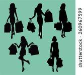 Women Shopping Silhouette Set