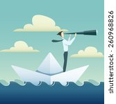 businessman is sailing on paper ... | Shutterstock .eps vector #260968826
