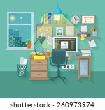 Workspace In Room Interior Wit...