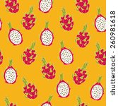dragon fruit pattern  vector... | Shutterstock .eps vector #260981618