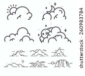 vector linear clouds collection. | Shutterstock .eps vector #260983784