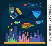 summer vacation. diving. diver... | Shutterstock .eps vector #260986520