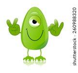 green monster character...   Shutterstock . vector #260988320
