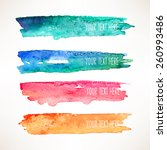 set of four colorful watercolor ... | Shutterstock .eps vector #260993486