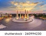 Small photo of Moment of Democracy monument at Dusk (Bangkok, Thailand)