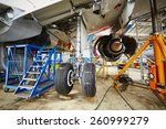 Stock photo chassis of the airplane under heavy maintenance 260999279