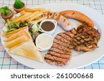 beef steak serve with french... | Shutterstock . vector #261000668