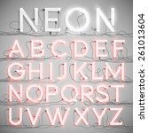 realistic neon alphabet with... | Shutterstock .eps vector #261013604