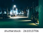 the oceanfront walk at night ... | Shutterstock . vector #261013706