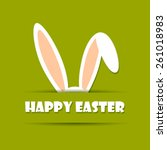 happy easter card with rabbit... | Shutterstock .eps vector #261018983