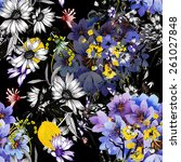 colorful garden flowers... | Shutterstock . vector #261027848