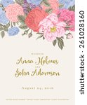 vector vintage floral wedding... | Shutterstock .eps vector #261028160