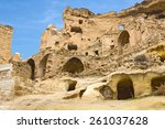 old cave town in cavusin ... | Shutterstock . vector #261037628