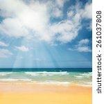 beautiful ocean beach on canary ... | Shutterstock . vector #261037808