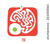 red vector maze  labyrinth... | Shutterstock .eps vector #261050063