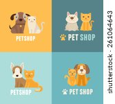 Stock vector vector pet shop logo design templates in flat cartoon style friendly cats and dogs 261064643