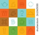 vector food linear icons and... | Shutterstock .eps vector #261065030