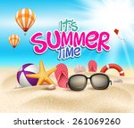 summer time in beach sea shore... | Shutterstock .eps vector #261069260
