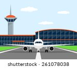 picture of a civilian plane on... | Shutterstock .eps vector #261078038