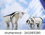 bull and bear  high rise...   Shutterstock . vector #261085280
