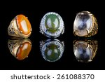 ring agate jewelry with black... | Shutterstock . vector #261088370