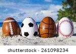Sport Eggs On Ocean Beach   ...