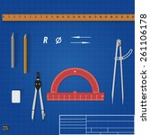 drawing tools over blueprint.... | Shutterstock .eps vector #261106178