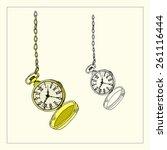 open golden pocket watch   its...   Shutterstock .eps vector #261116444