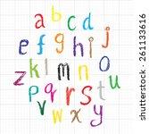 Child Drawing Of Alphabet Font...