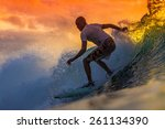 surfer on amazing wave at... | Shutterstock . vector #261134390