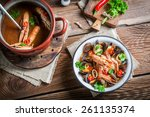 seafood soup with shrimps and... | Shutterstock . vector #261135374