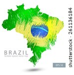 scribble stylized map of brasil.... | Shutterstock .eps vector #261136184
