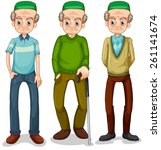 old muslim man in different... | Shutterstock .eps vector #261141674