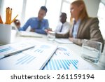 close up of financial reports... | Shutterstock . vector #261159194
